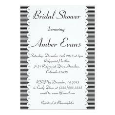 Black & White Pinstripes Bridal Shower Invitation