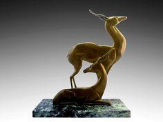 French Art Deco Bronze Antelope Sculpture 1930s - http://www.artdecoceramicglasslight.com/categories/sculptures/ref-07104---french-art-deco-bronze-antelope-sculpture-1930s