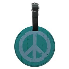 Artsy Peace Sign Symbol Teal Round Leather Luggage ID Tag Suitcase CarryOn >>> For more information, visit image link.Note:It is affiliate link to Amazon.