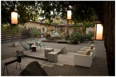 front yard inspiration #2 - lounge area surrounded by desert plants.