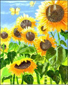 Original Art - Sunny Sunflowers   https://11main.com/misspatricia/original-art-sunny-sunflowers/p/791835