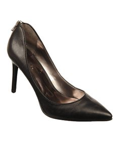 Take a look at this Carlos by Carlos Santana Black Daring Leather Pump on zulily today!
