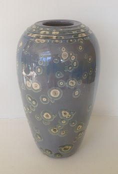 """This might look like a vase, but it is actually a 12.75"""" tall lamp base made of porcelain.  #tomwallick #porcelain #blue #vase #lamp #decor #interiordesign #designer #clay #pottery #art #crystallinepottery"""