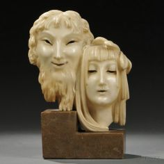 "Two Art Nouveau Alabaster Theatrical Masks, 20th century, male and female heads mounted atop a stepped marble base, inscribed signature ""J. Csaxy,"" ht. 12 7/8 in."