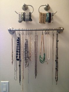 A towel rack and hooks make a handy way to hang up necklaces and store your bracelets, without them getting tangled up in a jewelry box. Find out how to do it here.