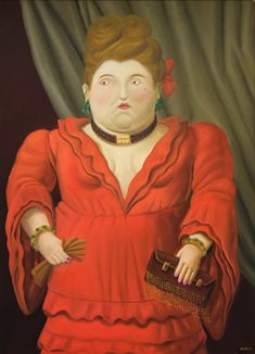 Fernando Botero (Colombian - Society Woman 2003 - Oil on Canvas cm Diego Rivera, Robert Gonsalves, Frida Diego, Illustrator, Plus Size Art, Mexico Art, Sculptures For Sale, Museum Exhibition, Fat Women