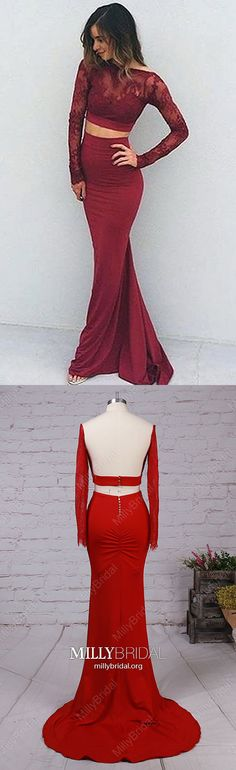 Burgundy Prom Dresses Two Piece,Long Sleeve Prom Dresses Backless,Mermaid Prom Dresses Lace,Elegant Jersey Prom Dresses Open Back