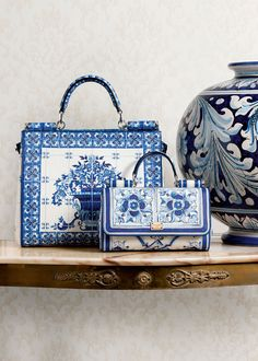 Adore the blue tile pattern in Dolce & Gabbana Women's Accessories Collection Winter 2016