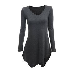 SheIn(sheinside) Grey V Neck Long Sleeve Asymmetrical T-Shirt ($11) ❤ liked on Polyvore featuring tops, t-shirts, shirts, grey, long-sleeve shirt, long sleeve shirts, long sleeve t shirt, stretch t shirt and cotton spandex t shirt
