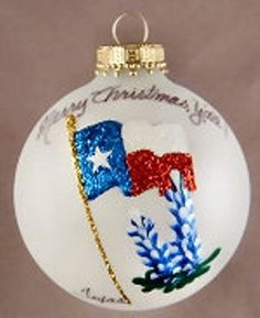 texas hand painted ornaments | Texas State Flag with Bluebonnets Glass Christmas Ornament - Treasure ...