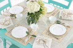 vintage turquoise table winter garden party love
