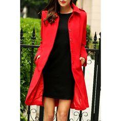 Elegant Turn-Down Collar Red Long Sleeve Coat For Women