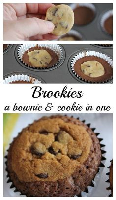 Brookie - a brownie cookie. Impressive but super easy if you use a brownie mix and refrigerated cookie dough.   Shhhh, no one will know!  - Momcrieff