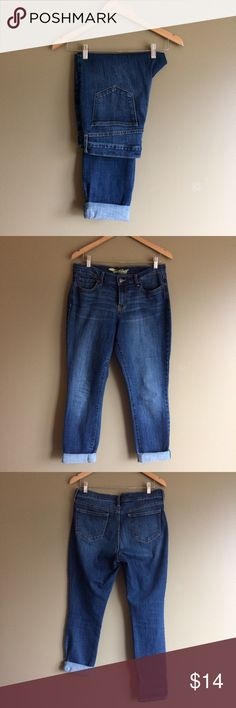 """Old Navy sweetheart skinny jeans For sale is a sassy pair of jeans by Old Navy.  Tag says:  Sweet heart skinny Hudson.  Darker wash with some factory distress.  I always wore legs rolled up but they can be worn down as well.  Made of 84% cotton and 16% polyester so they have stretch to them.  Measurements are 15.5"""" waist, 9.5"""" rise, 19.5"""" Hips, 30"""" inseam, 39.5"""" length and 6"""" leg opening.  In great condition!  Always open to offers or save with bundling.  Thanks for looking! Old Navy Jeans…"""