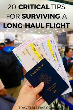 Are you going on an international trip or vacation soon? This post includes 20 crucial tips for surviving long-haul flights. These tips will undoubtedly make a long travel day go much more smoothly.   Tips for international travel   Essentials for traveling   Airplane essentials   Airplane travel tips   What to do on a long flight   Plane travel tips   How to survive long flights   Tips for long-haul flights   Tips for long flights   Tips for plane travel