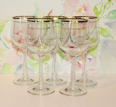Gorgeous, Set of 5, Vintage Jasmine, Gold Rim, Water Goblets by Crystal Clear Industries
