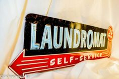 Laundromat 24 Hours Self Service Tin Sign Laundry Home R 23x8 Vintage Style | eBay