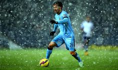 David Silva during a snowy win against West Brom on Boxing Day, 2014.