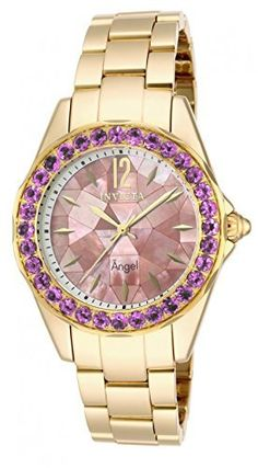 Invicta 14535 Womens Angel Goldtone Mother of Pearl Dial Bracelet Watch [Watch] -- You can get more details by clicking on the image.