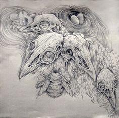 Caitlin Hackett Undergrowth 1024x1019 Artist: Caitlin Hackett art  Fantasy Creatures Caitlin Hackett Brooklyn Artist Art