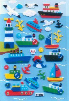 Korean Scrapbook Felt Stickers Fun in the Sea by scrapbooksupply, $1.75
