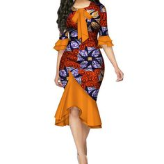 Fashion Summer African Dresses for Women Bazin Riche Bow Knot Patchwork Dress Traditional African Women Clothing African American Fashion, African Fashion Designers, Latest African Fashion Dresses, African Dresses For Women, African Print Dresses, African Print Fashion, Africa Fashion, African Attire, African Style