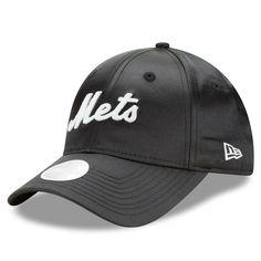 87578c36669 Women s New York Mets New Era Black Satin Team Charmer 9FORTY Adjustable Hat