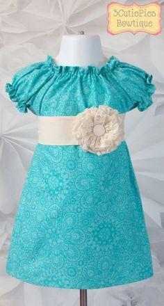 Aqua dress, Turquoise dress, Peasant dress, girls dress, floral dress, Spring dress, toddler dress, dress-Girls sizes 3 months-6 years via Etsy
