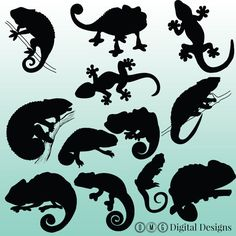 12 Chameleon Silhouette Digital Clipart by OMGDIGITALDESIGNS