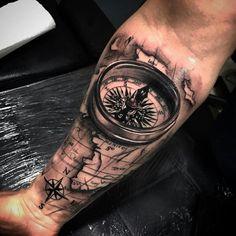 Dope tattoos, forearm tattoos, skull tattoos, tattoos for guys, forearm . Forarm Tattoos, Map Tattoos, Neue Tattoos, Skull Tattoos, Body Art Tattoos, Tattos, Compass And Map Tattoo, Compass Tattoo Design, Pirate Compass Tattoo