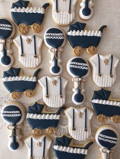 Classy navy white n gold Navy Baby Showers, Boy Baby Shower Themes, Baby Shower Decorations, Classy Baby Shower, Baby Shower Fun, Baby Shower Parties, Baby Boy Cookies, Baby Shower Cookies, Heart Cookies