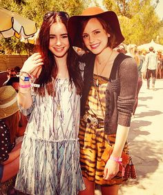 Actresses Lily Collins and Emma Watson: Floppy hat, animal print and loose silhouettes