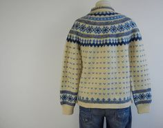 Vintage Nordic Fair Isle Cardigan / 1950s Hand Knit by zestvintage,