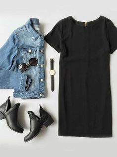 Perfect casual outfit for a rainy day like today - love the jean jacket with a black shift dress. And those booties? Mode Outfits, Casual Outfits, Fashion Outfits, Womens Fashion, Fashion Clothes, Casual Jeans, Dress Fashion, Hijab Casual, Denim Outfits