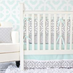 Gray & Mint Mod Crib Bedding from Caden Lane, a perfectly modern pairing for the mint nursery!