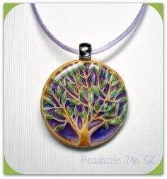 Tree of Life Lavender Statement necklace, polymer clay jewelry. available in my Etsy shop