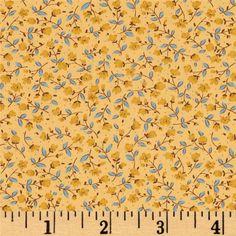 Kaufman Sevenberry Petite Fleurs Stems Maize - Discount Designer Fabric -  Fabric.com