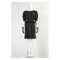 Vintage black moiré 1980s Ungaro bombshell wiggle skirt suit by VintageKabinet on Etsy
