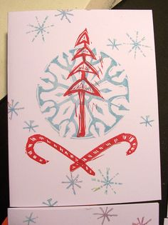 one of my new winter themed cards, hand printed from my own original rubber stamps