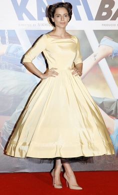 Kangana Ranaut looking beautiful in yellow Delphine Manivet at the trailer launch of 'Katti Batti' - #KattiBatti - in Mumbai.