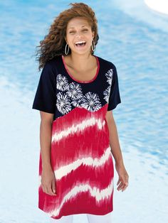 Plus Size Fireworks Beaded Knit Tunic