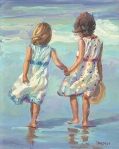 Watercolor  Colores Colors  Beautiful  Art Arte Shining  Friends - amigas Sisters - hermanas Dress - vestido Beach - playa Soleado Casual Cute Beautiful