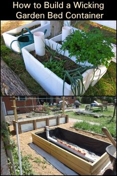 Keep Your Plants Hydrated While Reducing Water Consumption by Making a Wicking Garden Bed Container Wicking Garden Bed, Wicking Beds, Self Watering Containers, Self Watering Planter, Hydroponic Gardening, Aquaponics, Garden Design Ideas Videos, Garden Ideas, Raised Garden Bed Plans