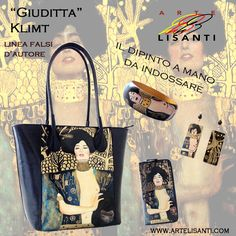 """Hand Painted on Black Bag (Genuine Leather, Made in Italy). """"Author's fake copy"""" line, """"Judith"""" by Klimt. Super-strong color, fantastic gold in different shades.  Borsa in Pelle dipinta a Mano """"Giuditta"""" di Klimt : Fantastico Oro!!!! Exchange Code 108 Painting Code KG"""