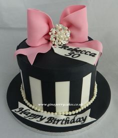 30th Birthday cake - elegant black white & pink with costume brooch for an added touch.