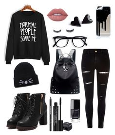 """emo"" by jigglypuff-irwin ❤ liked on Polyvore featuring WithChic, River Island, Chicnova Fashion, Lime Crime and Rodial"