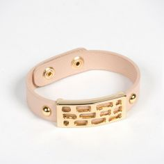 Abstract 18K Gold Plated Leather Snap Bracelet - Light Pink by Andara on Style Mined