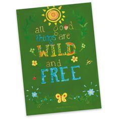Postkarte All good things are wild and free aus Karton 300 Gramm  weiß - Das Original von Mr. & Mrs. Panda.  Diese wunderschöne Postkarte aus edlem und hochwertigem 300 Gramm Papier wurde matt glänzend bedruckt und wirkt dadurch sehr edel. Natürlich ist sie auch als Geschenkkarte oder Einladungskarte problemlos zu verwenden. Jede unserer Postkarten wird von uns per hand entworfen, gefertigt, verpackt und verschickt.    Über unser Motiv All good things are wild and free  Henry David Thoreau…