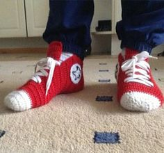 How to Make Crochet Converse Slippers - Crochet - Handimania Actual instructions