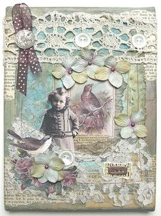 """""""Believe""""...  mixed-media collage, handcrafted on canvas, embellished with vintage images, lace, ribbon, buttons, and flowers"""